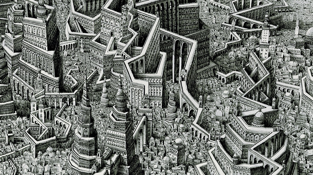 Infinite Cityscapes: Hyper-Detailed Architectural Drawings by Benjamin Sack